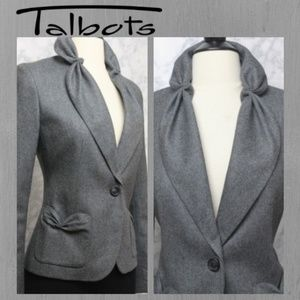 CHARCOAL RUCHED BLAZER WOOL CAREER JACKET